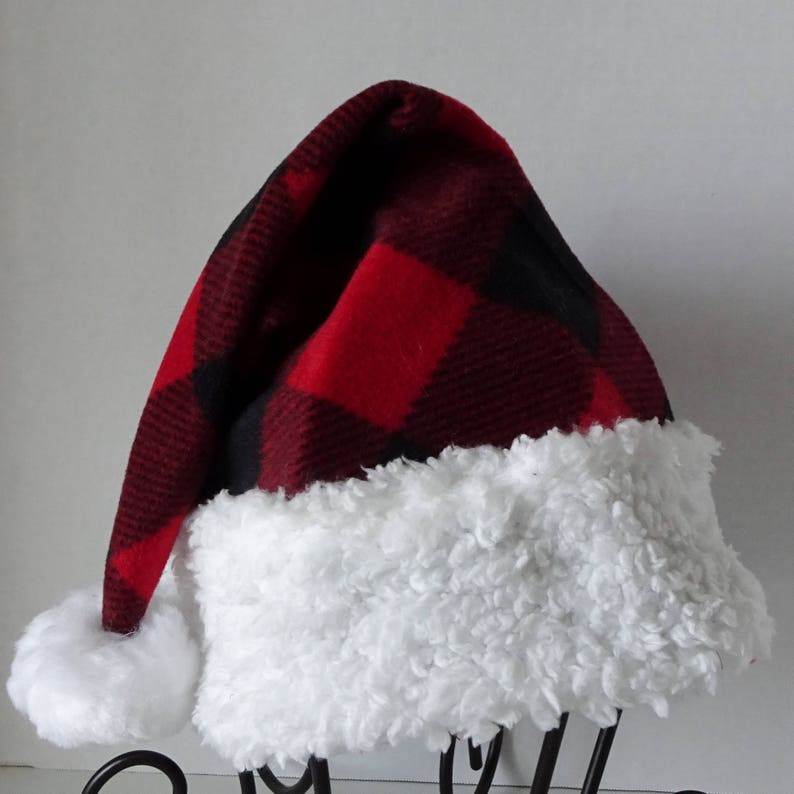57e91cf2bead9 Red Buffalo Check Fleece Santa Hat Plaid Santa Hat Rustic
