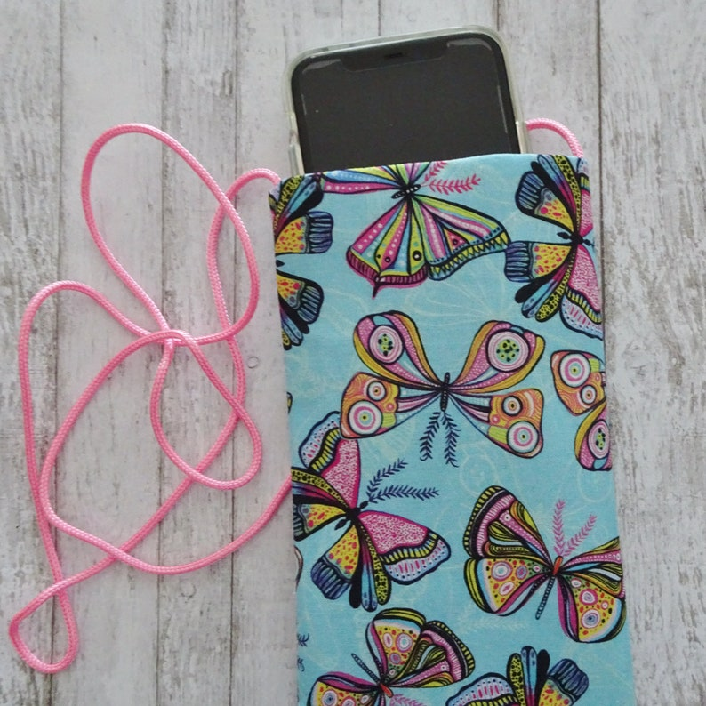 Eyeglass Pouch Purple Purse for Cell Phone Cell Pouch Butterfly Fabric Pouch Small Purse Strapped Cell Phone Purse Boho Pouch
