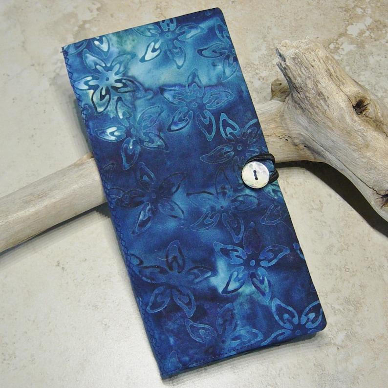 Business Card Case Journal Insert Card File Organizer Credit Card Wallet Tropical Indigo Blue Batik Fabric Wallet Boho
