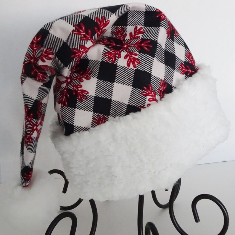 ea9a6ab2852b0 Black   White Buffalo Check Flannel Santa Hat with Red
