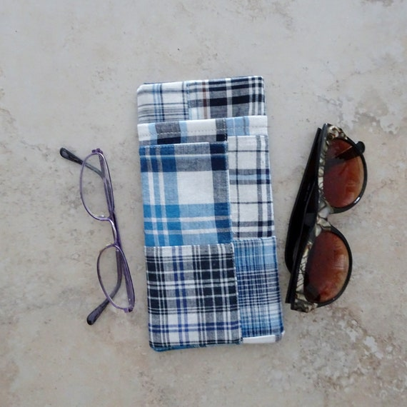 Eyeglass Purse Preppy Cell Phone Purse Black and White Check Plaid Patchwork Fabric Purse Eyeglass Purse Strapped Pouch Cell Pouch