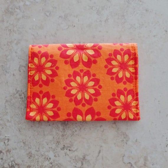 Carte De Visite Portefeuille Porte Cartes Crdit Petit Monnaie Tissu Orange