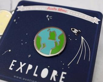 Planet Earth Enamel Pin - Pin Badge - Earth Pin - World Pin - Enamel Pin - Gift for Adventurers - Lapel Pin - Flair - Environment Pin