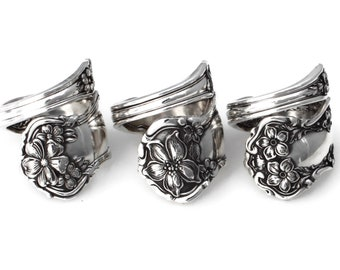 The Tempting Trio Floral Wrapped Spoon Rings