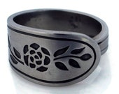 Spoon Ring Floral Mist Stainless Steel