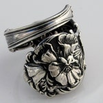 August Birthday Ring Sterling Silver Spoon Ring Poppies Floral Ring