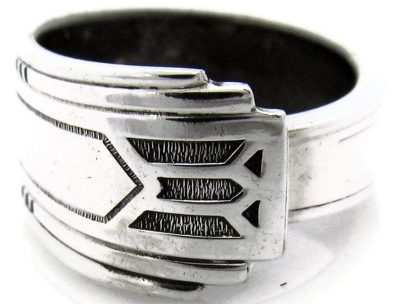 Silver Art Deco Spoon Ring Friendship Pattern Men's image 0