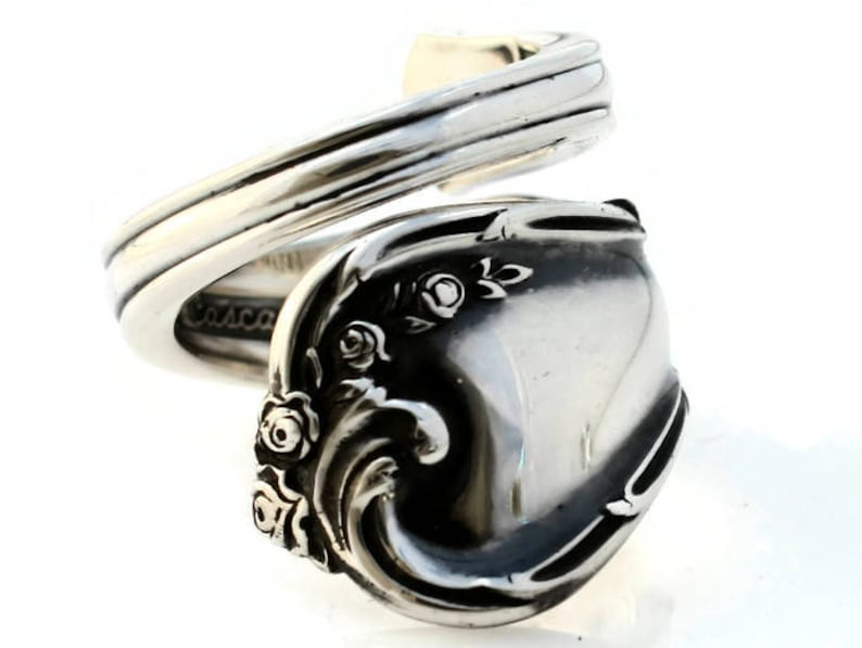 Sterling Spoon Ring Rose Cascade Floral Ring image 0