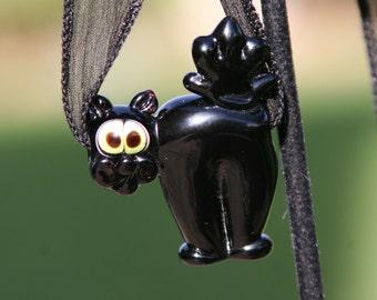 Spooky Black Witch Cat SRA Lampwork DeSIGNeR Silk Ribbon Necklace Halloween Boo