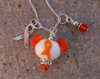 Think Orange Ribbon Awareness Disney Inspired Mickey Minnie Mickey Mouse Style SRA Lampwork DeSIGNeR Necklace
