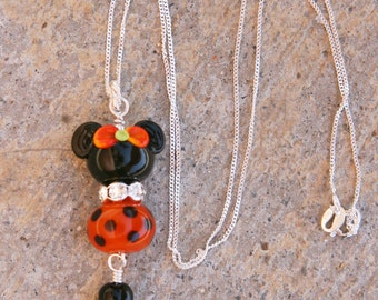 Halloween Disney Inspired Mickey Minnie Mouse Style SRA Lampwork Rhinestones DeSIGNeR Necklace Sterling Silver