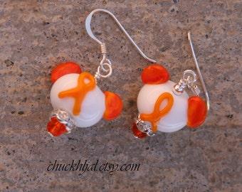 Think Orange Ribbon Awareness Disney Inspired Mickey Minnie Mickey Mouse Style SRA Lampwork DeSIGNeR Earrings