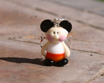 Candy Corn Disney Fairy Magical Mickey Minnie Mouse Style Lampwork DeSIGNeR Pendant Sterling Silver
