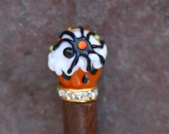 Trick or Treat Orange Halloween Lampwork Cupcake N Spider DeSIGNeR Hair Stick Hairstick Hairpin Hair Pin Hair Piece Barette