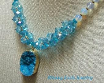 Druzy Gemstone Beaded Necklace-Artisan Lampwork Beads-Crystal Necklace-Artisan Jewelry-Artisan Necklace-Art Beads - SRAJD