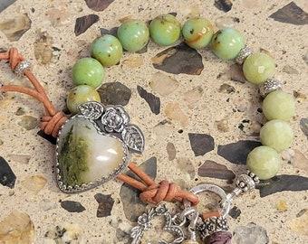 Gemstone Sterling Silver Bracelet-Handmade Button-Gemstone Boho Bracelet-Southwestern Bracelet-Western Bracelet-SRAJD-Artisan Bracelet