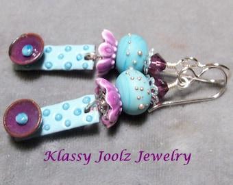 Glass Lampwork Drop Earrings-Artisan Lampwork Beads-Artisan Lampwork Earrings-Floral Glamor Earrings-Dangle Earrings-Dressy Earrings-SRAJD