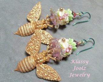 Brass Vintaj Bee Charms-Glass Lampwork Beaded Earrings-Artisan Lampwork Bee Earrings-Honey Bee Earrings-Tribal-Bohemian Earrings-SRAJD