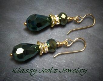 Crystal Beaded Gold Earrings-Artisan Earrings-Artisan Dangle Earrings-Czech Glass Crystal Earrings-Crystal Earrings-SRAJD