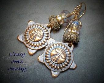 Bronze Handmade PMC Moon Star Charms-Glass Lampwork Bead Earrings-Star Earrings-Artisan Earrings-Moon Earrings-Bohemian Earrings