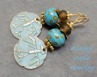 Bronze Handmade Petroglyph Bird Charms-Glass Lampwork Bead Earrings-Bird Earrings-Artisan Earrings-Ancient Style Earrings-Tribal Earrings
