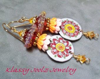 Enameled Floral Charms-Glass Lampwork Beaded Earrings-Artisan Enamel Charm Earrings-Organic-Floral-Tribal-Bohemian Earrings-SRAJD