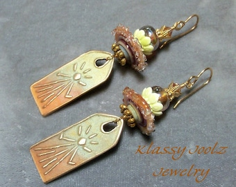Bronze Handmade Sun Charms-Glass Lampwork Bead Earrings-Sun Earrings-Artisan Earrings-PMC Earrings-Sun Shine Earrings-Tribal Earrings