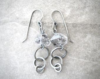 gemstone earrings, herkimer diamonds, boho drop earrings, oxidized silver, sterling ear wires, gift for girlfriend, fine silver rings