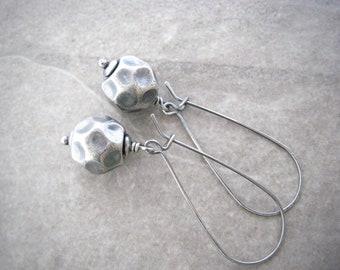 silver drop earrings, minimalist jewelry, simple silver drops, wire wrapped, oxidized silver, kidney ear wires, gift for girlfriend