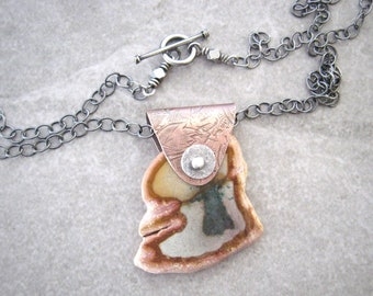 jasper necklace, multi color stone, mixed metal jewelry, boho pendant necklace, sterling chain, polychrome jasper