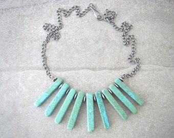 magnesite necklace, bib necklace, teal dyed magnesite, boho jewelry, oxidized sterling, summer accessories, gift for her