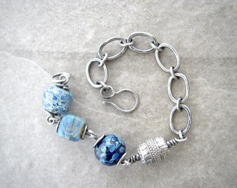 blue bead bracelet, rustic link bracelet, lampwork glass beads, fused silver links, oxidized silver, earthy bracelet, gift for her