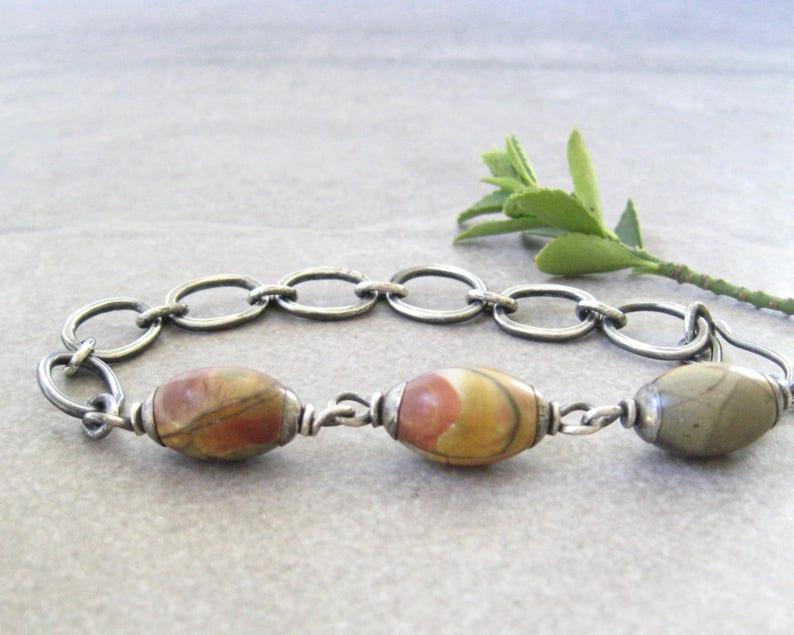 rustic link bracelet fused silver links oxidized silver earthy bracelet jasper and silver