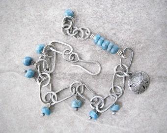 blue stone bracelet, blue chrysocolla, oxidized silver, charm bracelet, handmade chain, fine silver chain, ocean jewelry, sand dollar charm