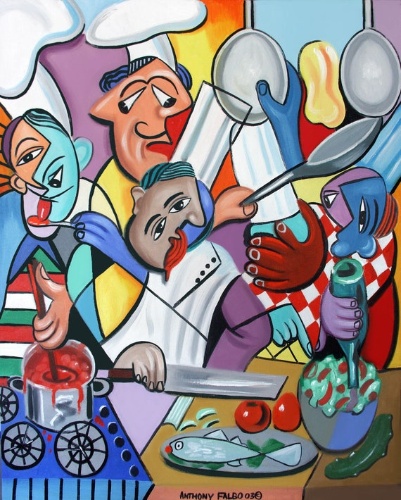 Too Many Cooks In The Kitchen Giclee Stretched Print Chefs Food Fine Dining Cubism Anthony R Falbo