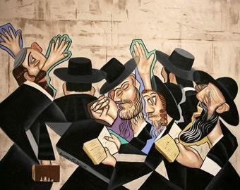 Praying Rabbis Poster  Print God Cubism Jews Anthony Falbo