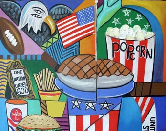 American Pie Poster / Print Cubism food hotdogs hambruger Anthony Falbo