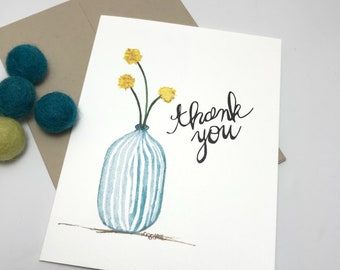 Craspedia / Billy Balls / Thank You Card / watercolor and ink / single folded card / blank inside / Kraft envelope