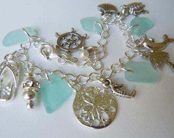 Sea Glass Bracelet, Aqua Sea Beach Glass Jewelry Seaglass Charm Bracelet