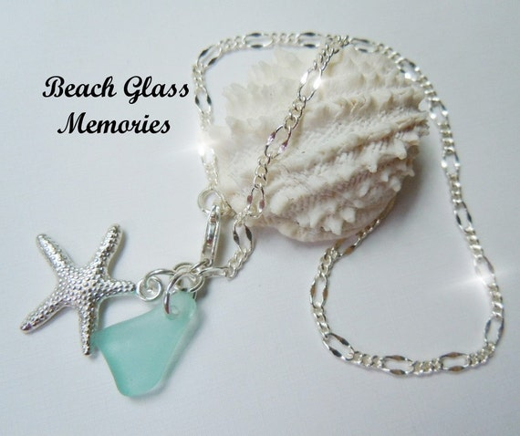 Seaglass Anklet Aqua Sea Glass Anklet Beach Glass Chain Anklet