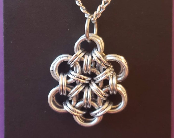 Chainmaille flower pendant