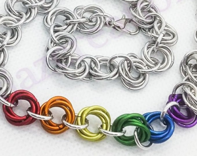 Rainbow  Pride Mobius Chainmaille Necklace