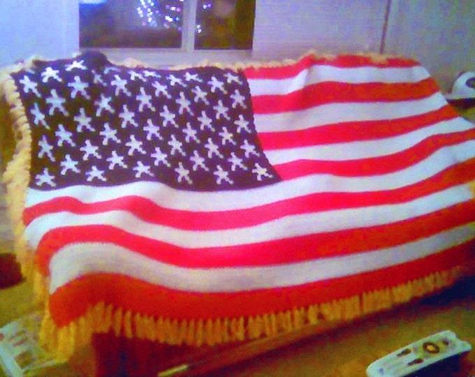 Crocheted Americana Flag Afghan