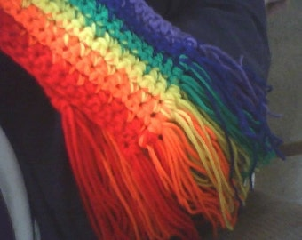 crocheted rainbow pride scarf - Made to Order