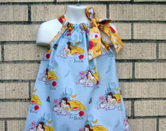 Disney Beauty and the Beasty Pillowcase Dress in Blue and yellow, Sizes 3M  up to 8 years