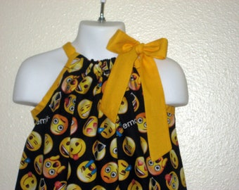 Girls Black Emoji Pillowcase Dress on Yellow, Sizes 3M up to 10 years