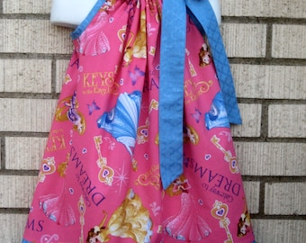 Disney princesses on pink Pillowcase Dress, Sizes 3M  up to 10 years
