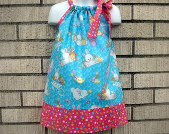 Easter Bunny and baskets Pillowcase Dress, Sizes 3M  up to 7 years