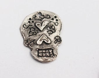 Day of Dead Skull Charm Carnival Charm Sterling Silver /CH1406