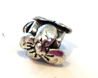 Slide  Flowers with Hearts Heavy Sterling silver